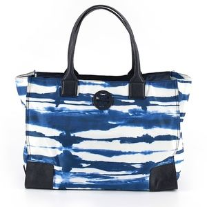 TORY BURCH Color Block Graphic Blue Tote